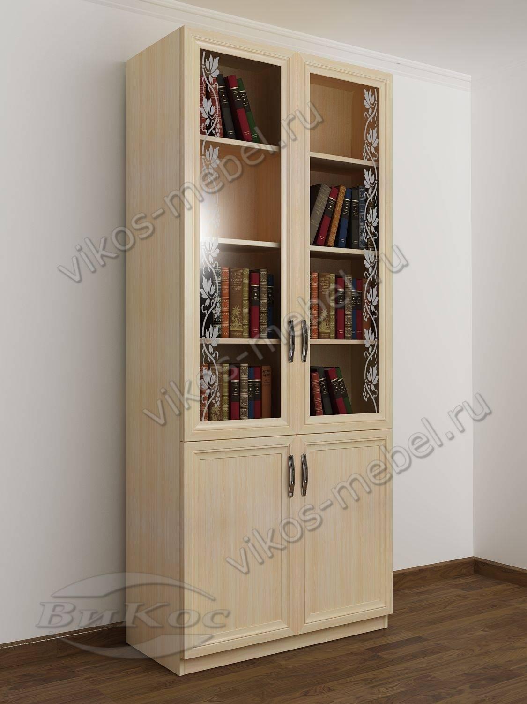Двухстворчатый книжный шкаф со стеклом c витражным стеклом ц.