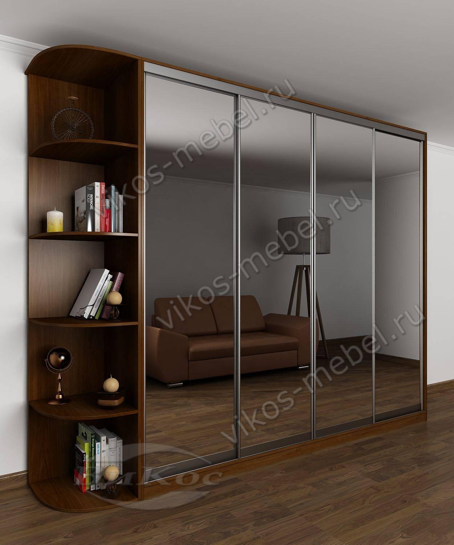 Большой шкаф-купе с зеркальными дверями и боковыми полками я.