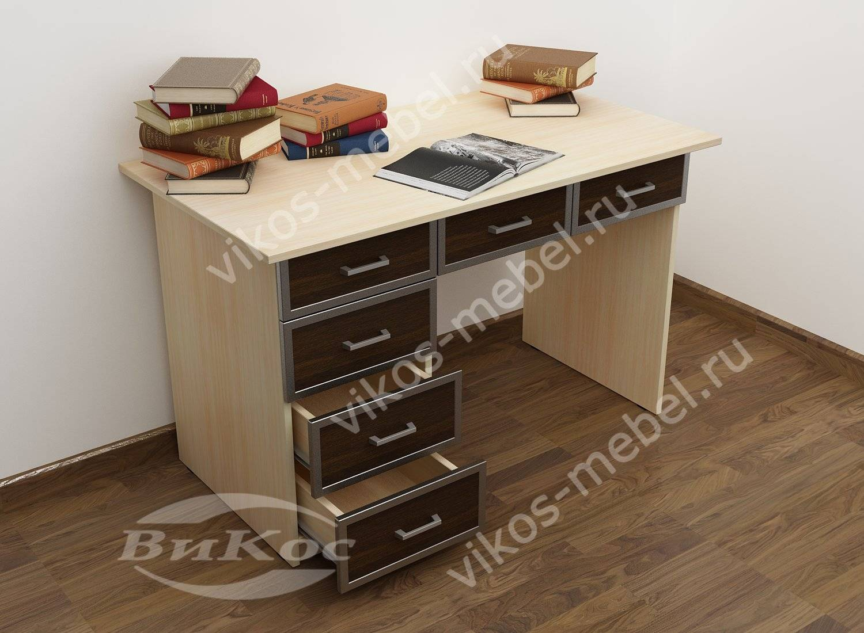 Маленький офисный стол с выдвижными ящиками цвета беленый ду.