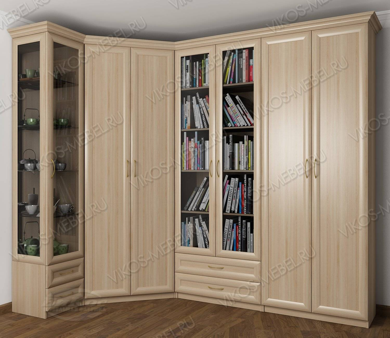 Широкий распашной шкаф угловой для одежды в зал цвета шимо с.