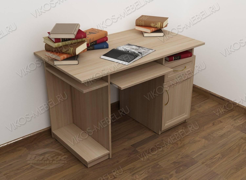 Широкий стол компьютерный цвета шимо светлый.