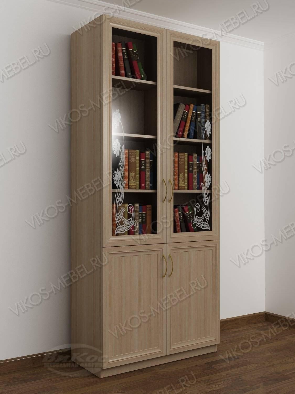 двухстворчатый книжный шкаф со стеклом с пескоструйным зеркалом
