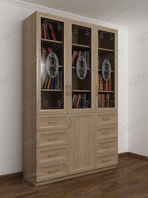 Стильные, красивые книжные шкафы с пескоструйным рисунком.