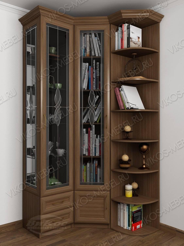 Шкаф угловой с распашными дверями для посуды цвета ясень шим.