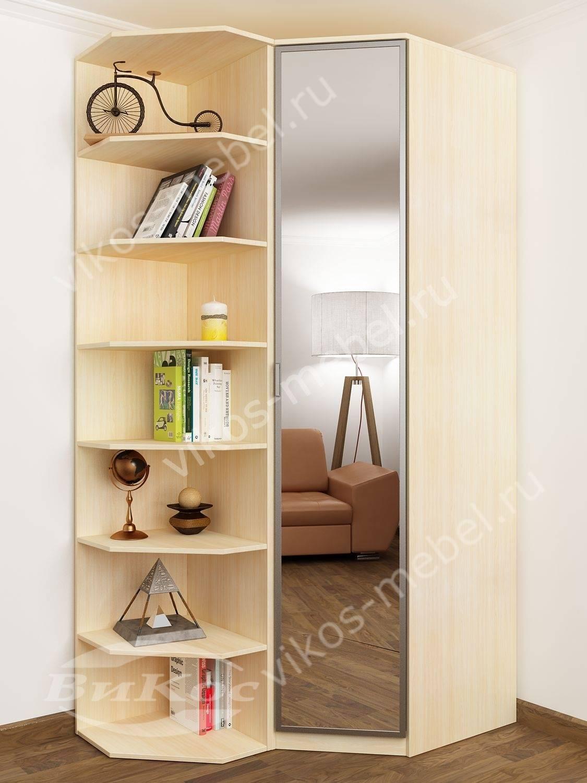 Стильные, красивые угловые шкафы со стеллажами.