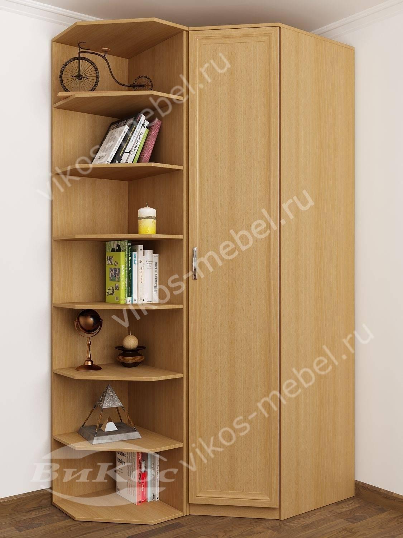 Классический угловой шкаф с открытыми полками, бук.