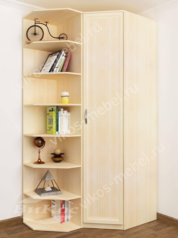 Классический угловой шкаф для одежды в гостиную цвет молочны.