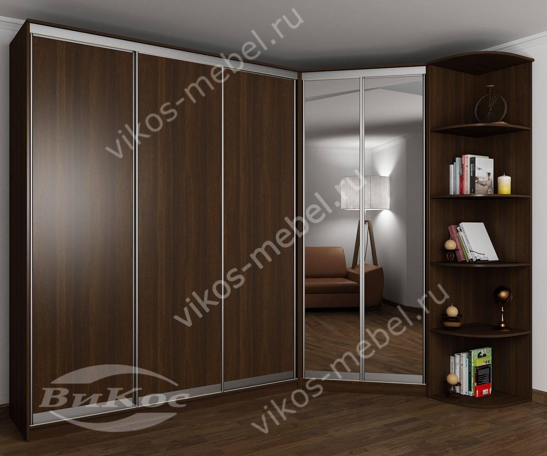 большой угловой шкаф купе в спальню с консолью и зеркалами цвет венге
