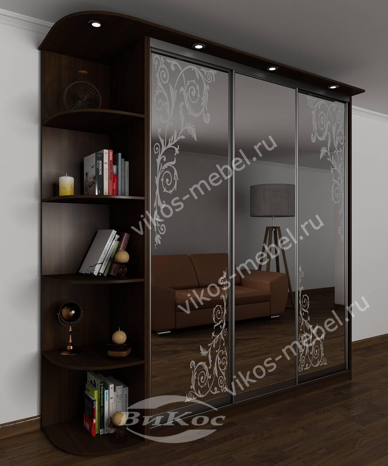 Вместительный шкаф-купе с зеркальными дверями и пескоструем .