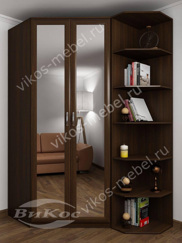 Корпусный двухстворчатый угловой шкаф со стеллажом и зеркала.