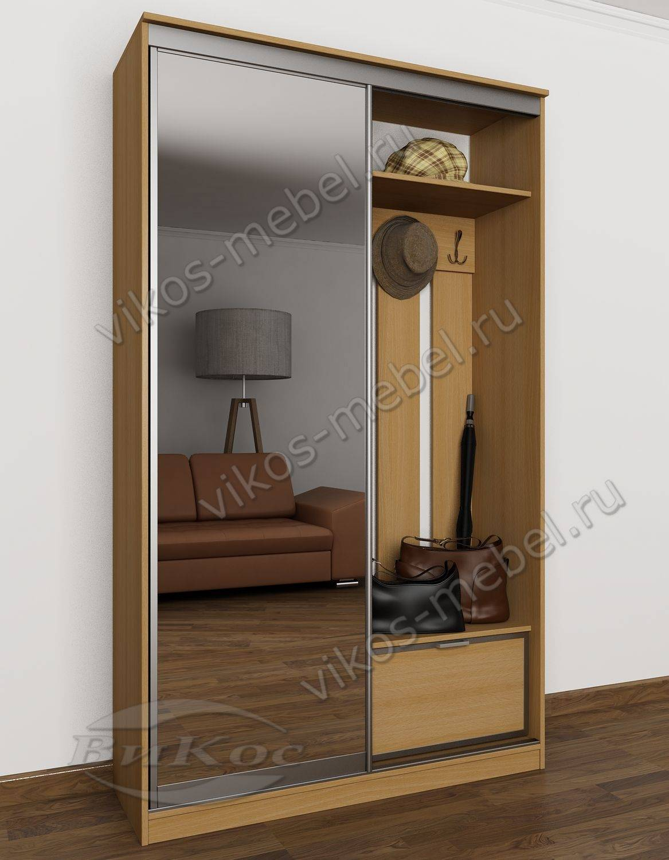 шкаф купе в узкую прихожую с обувницей и зеркалом бук
