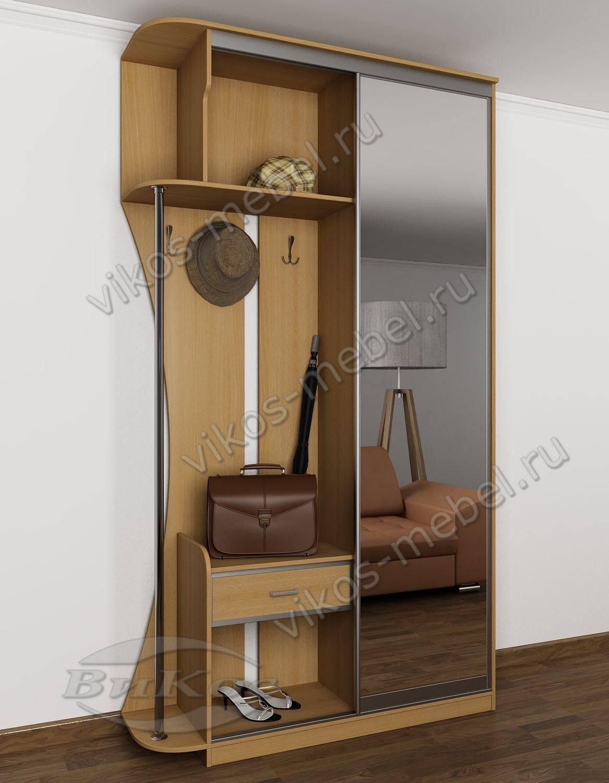 узкий шкаф купе в прихожую с крюками для одежды бук