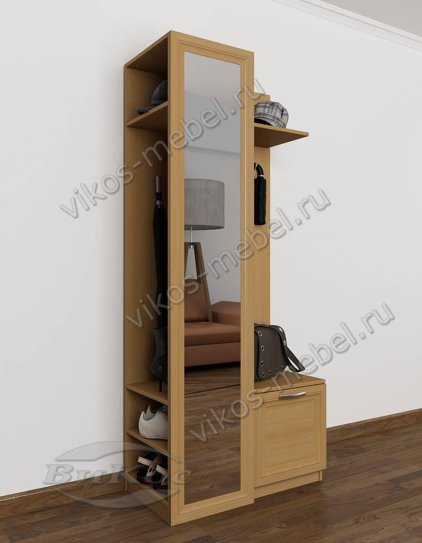узкий шкаф в прихожую дуэт 6 с обувницей и зеркалом бук