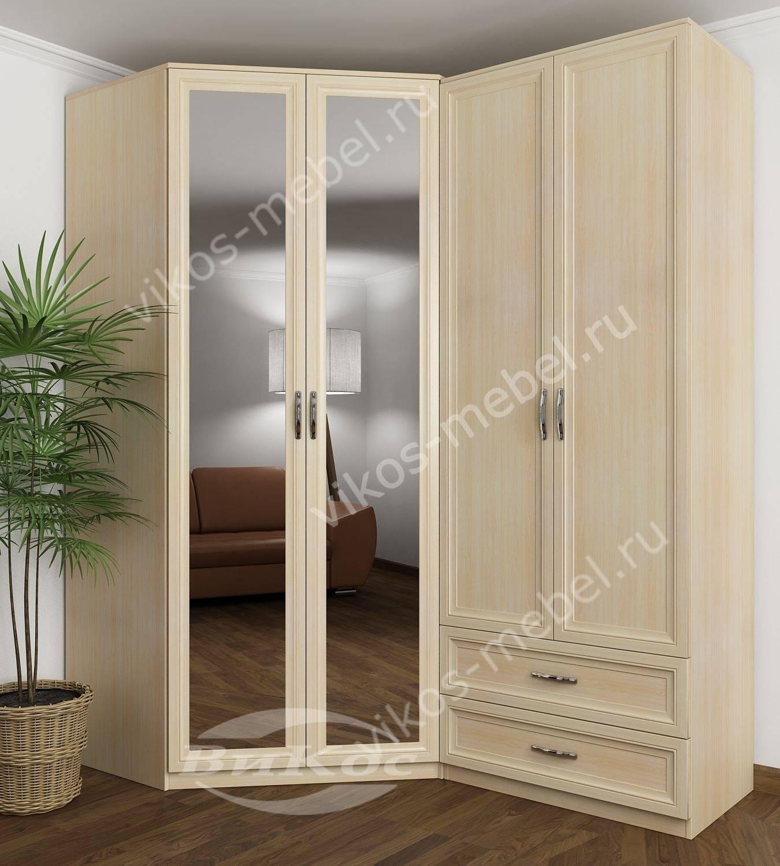 Угловой распашной шкаф в спальню с зеркалами молочный дуб - .