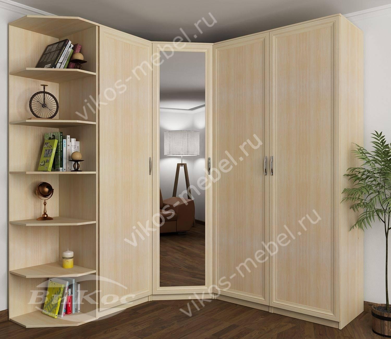 Шкаф спальный угловой распашной с зеркалом молочный дуб - це.