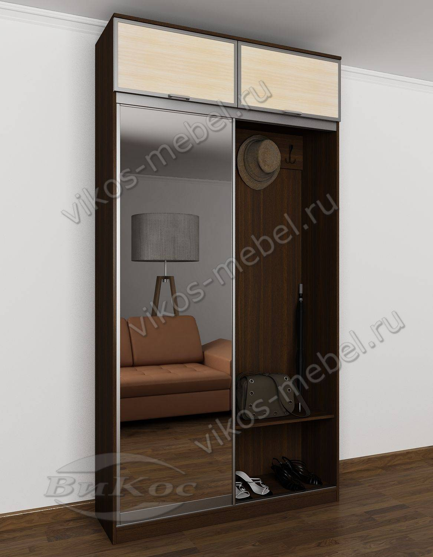 шкаф купе в узкую прихожую с крючками для одежды венге дуб