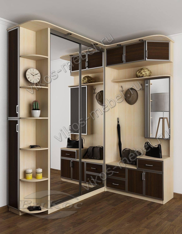 Красивая угловая прихожая-купе в коридор с консолью и зеркал.