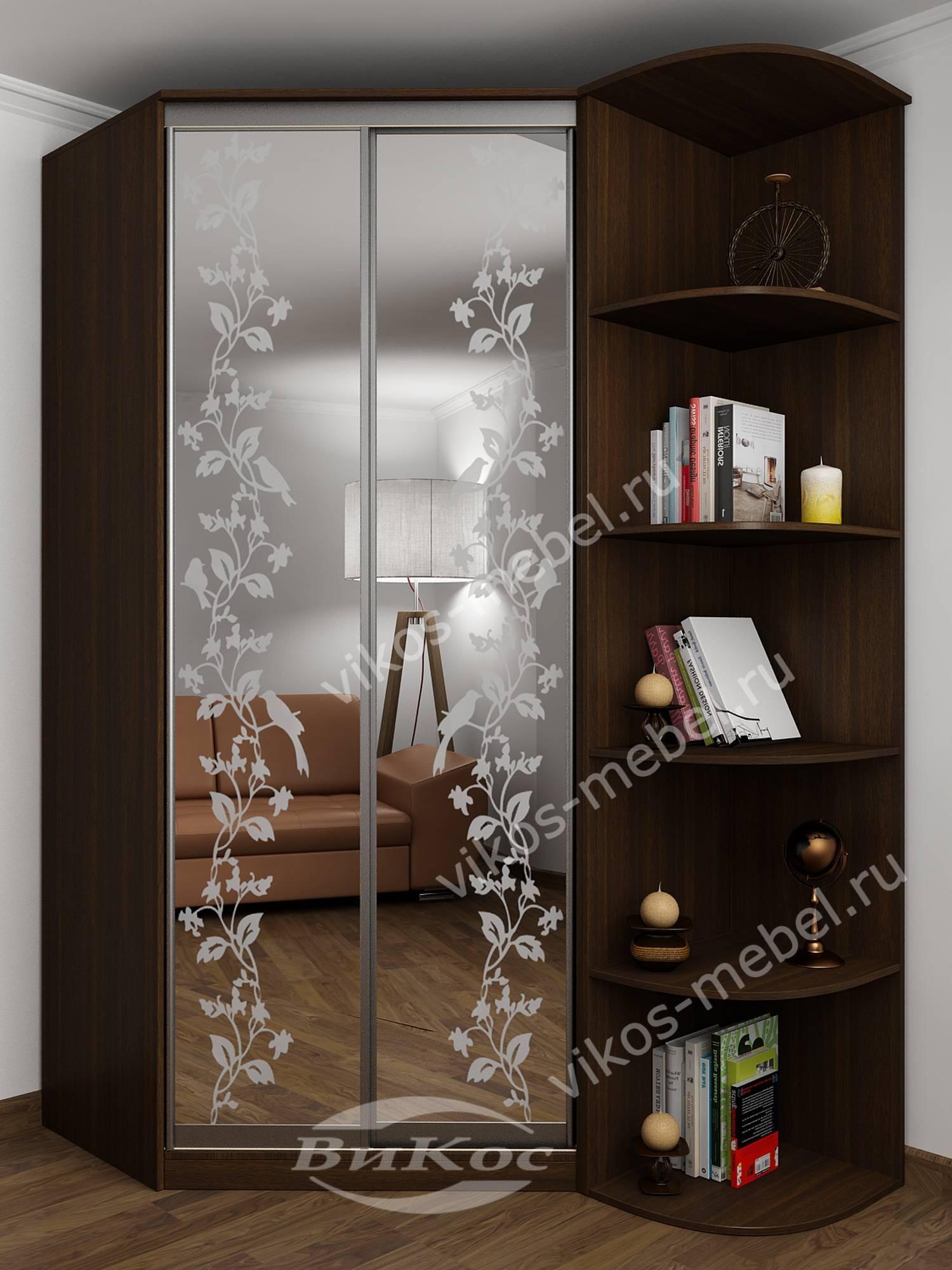 2-дверный угловой шкаф купе для одежды с зеркальной дверью в.