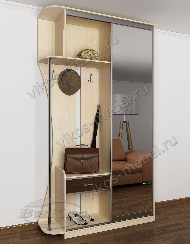 Шкаф-купе в узкую прихожую с зеркалом в полный рост дуб венг.