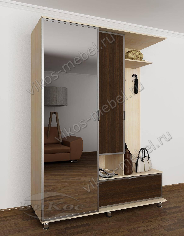 Недорогая прихожая в коридор комфорт с вешалкой и шкафом дуб.