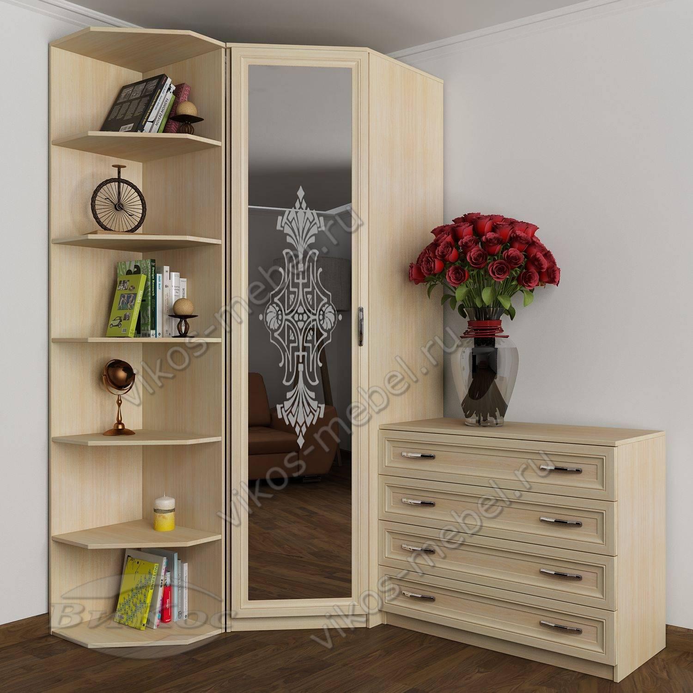Узкий платяной шкаф угловой с распашными дверями для спальни.