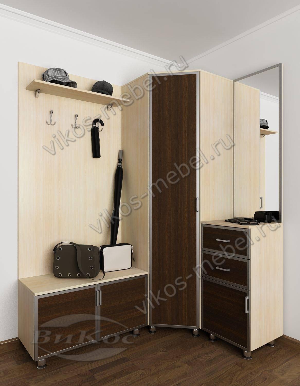 Угловой шкаф в прихожую лотос-4 с зеркалом и ящиками беленый.