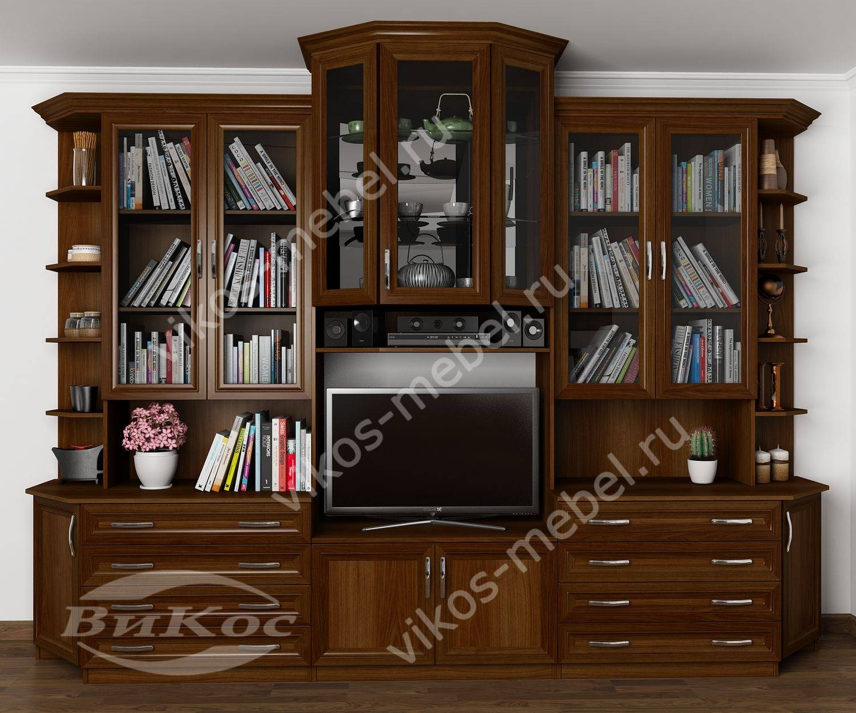 """Высокая стенка """"наталия"""" с книжными шкафами, открытыми полка."""