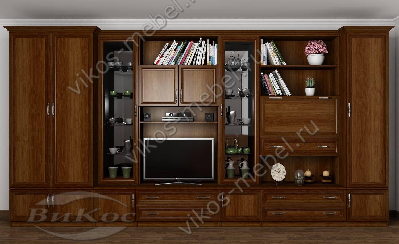"""Стенка """"викос 2"""" в классическом стиле со шкафами, сервантами."""