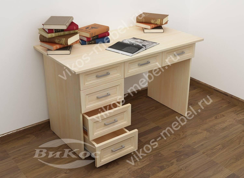 Маленький офисный стол с выдвижными ящиками цвета молочный б.