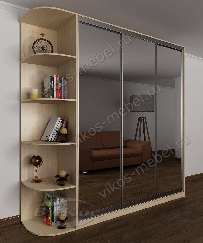 трехдверный шкаф купе для одежды с зеркалами и консолью беленый дуб