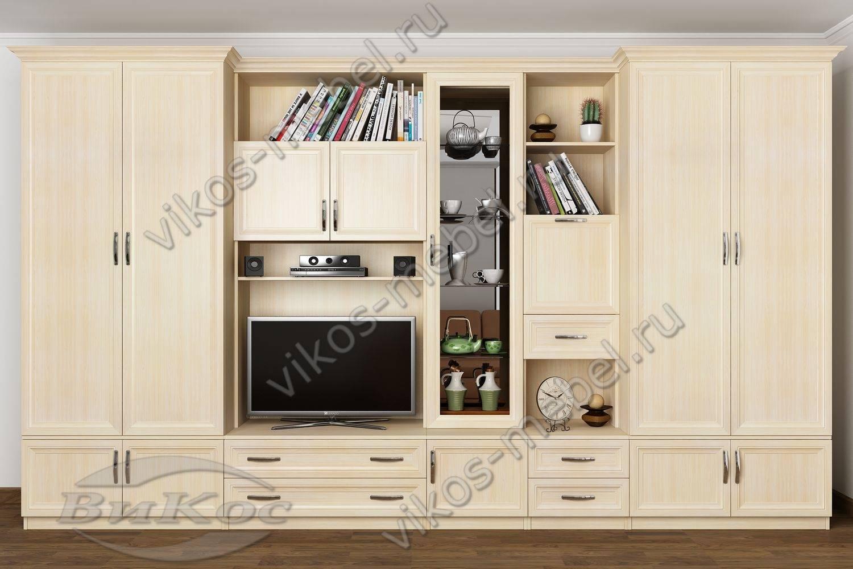"""Стенка """"викос 3"""" в классическом стиле со шкафами, полками и ."""