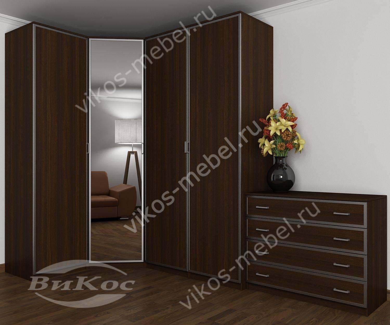 4-створчатый распашной угловой шкаф для одежды с зеркалом в .