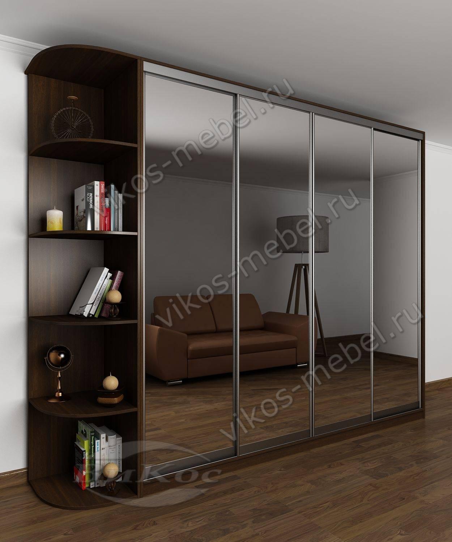 Шкаф-купе во всю стену с полками и зеркалами венге - цена в .