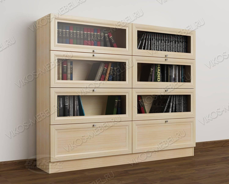 2-створчатый витражный книжный шкаф со стеклом библиотека цв.