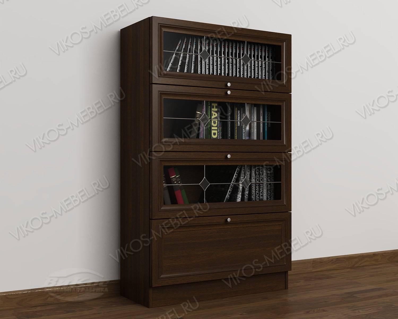 Низкий шкаф для книг с витражем венге - цена в москве 13680 .
