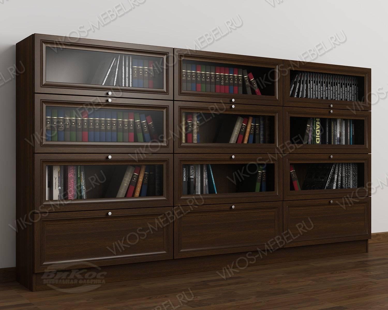 Низкий темный книжный шкаф с фигурным фасадом - цена в москв.