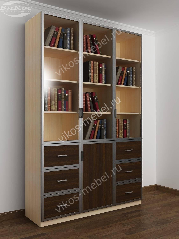 Большой распашной книжный шкаф с выдвижными ящиками молочный.