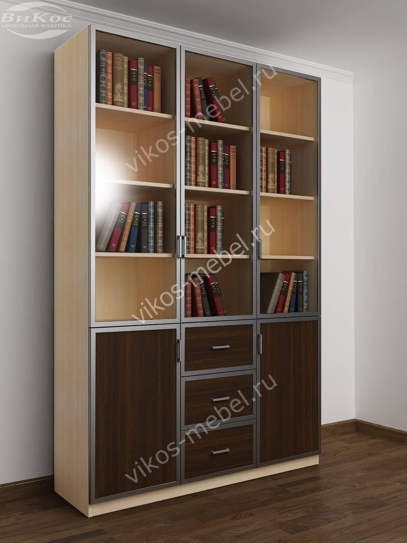 Распашной современный книжный шкаф с выдвижными ящиками моло.