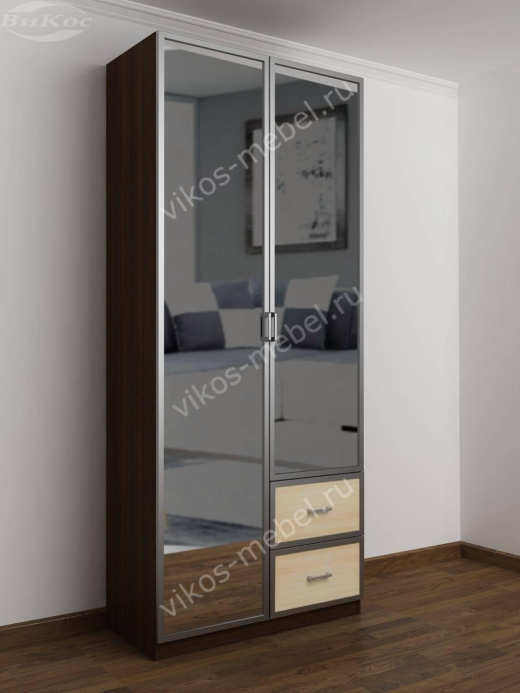 Распашной 2-х створчатый шкаф с зеркалом для одежды - цена в.