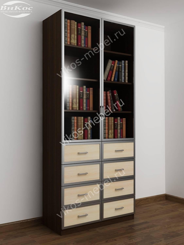 2-створчатый витражный книжный шкаф с ящиками для мелочей цв.