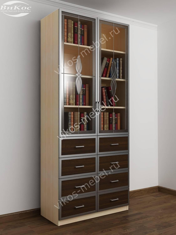2-дверный книжный шкаф с выдвижными ящиками молочный дуб - в.