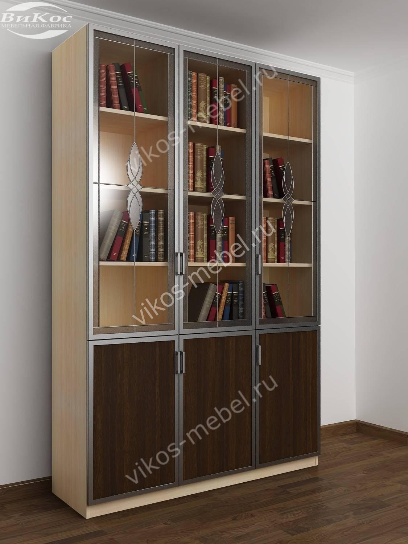 Элегантный большой книжный шкаф с витражным стеклом и алюмин.