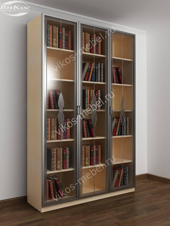 Современный распашной книжный шкаф с витражами молочный дуб .