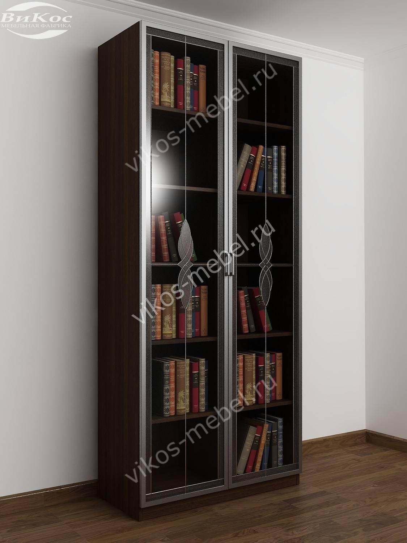 Стильный книжный шкаф с витражом венге - цена в москве 13140.
