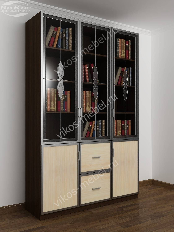 Недорогие книжные шкафы с витражом економ класса.
