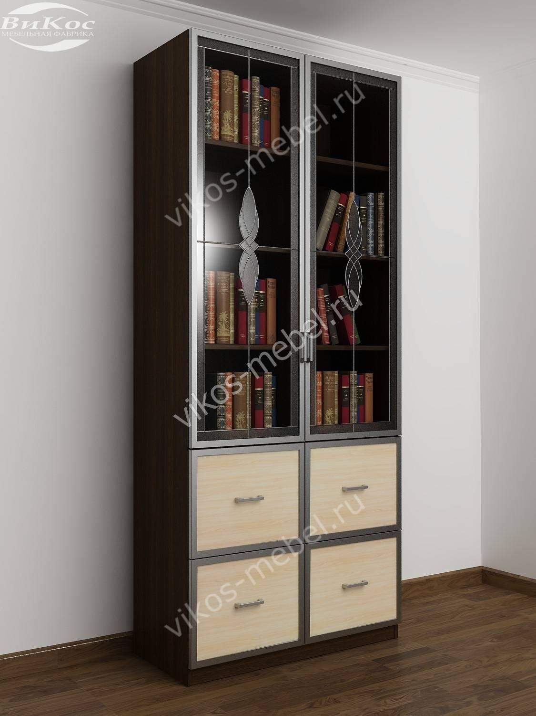 Книжный шкаф двухстворчатый с 4-я ящиками и стеклянными двер.