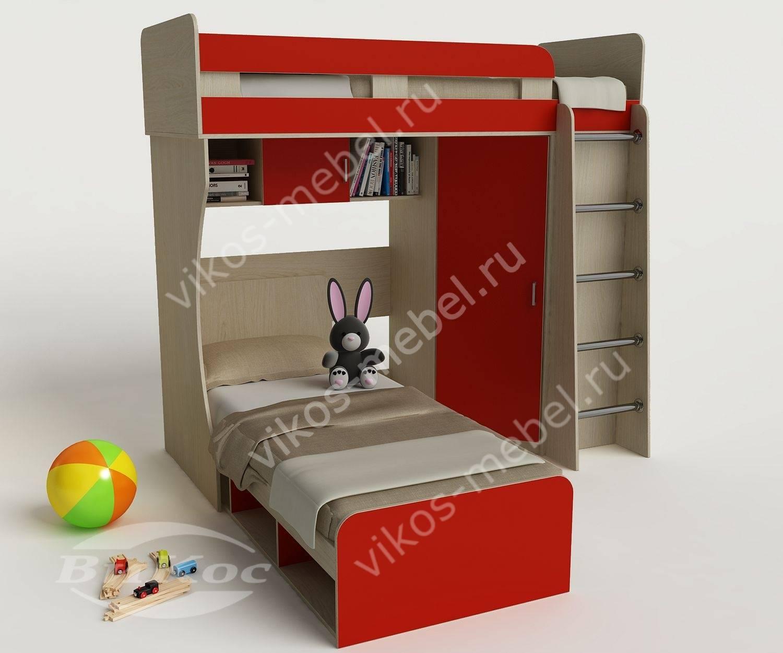 Детская кровать красного цвета