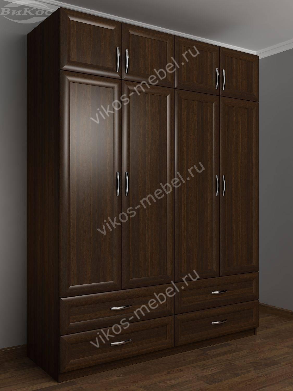 Распашной шкаф с антресолями в спальню цвета венге - цена в .