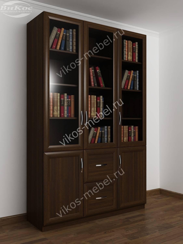 Шкаф книжный трехстворчатый с двумя ящиками и со стеклянными.