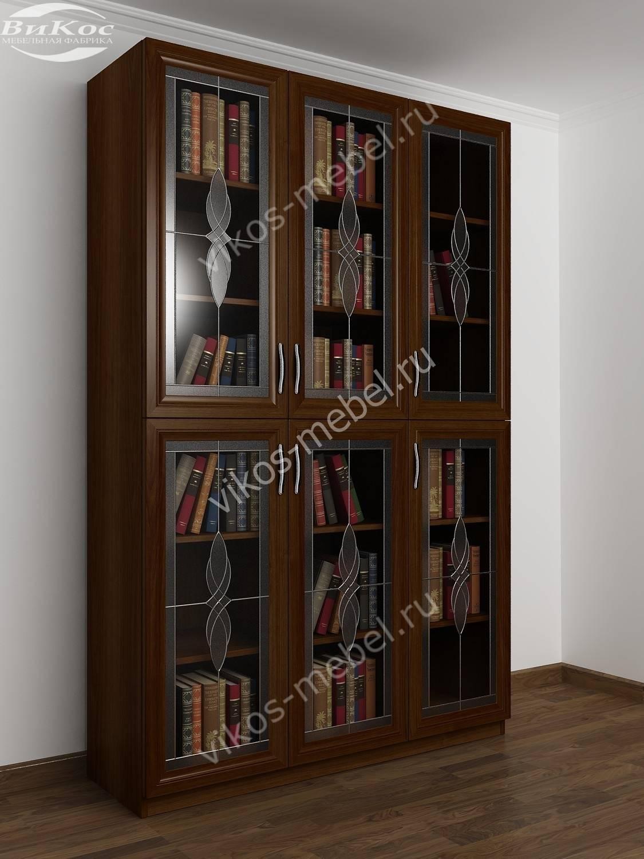 Книжный шкаф распашной с витражным стеклом яблоня - цена в м.